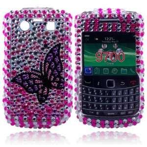 blackl butterfly Crystal Diamond Bling Case Cover for Blackberry 9700