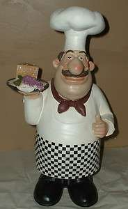 HUGE FAT CHEF STATUE~ITALIAN FIGURINE~BISTRO FIGURE~GRAPES CHEESE~COOK