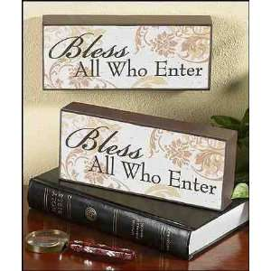 : Bless All Who Enter Wood Block Plaque Gift of Faith: Home & Kitchen