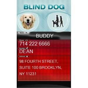 BLIND Dog ID Badge   1 Dogs Custom ID Badge   Design#2