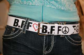Womens Leather BELT BFF Best Friends Forever Fun & Fashion I Love