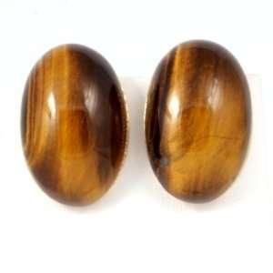 Roberto Coin 18k Gold Diamond Tiger Eye Clip Earrings Roberto Coin