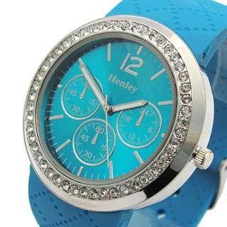 Henley Ladies Big Watch Diamante Choice of 5 colours