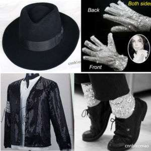 Child MICHAEL JACKSON Billie Jean Jacket+Hat+Glove+Socks MJ Kids