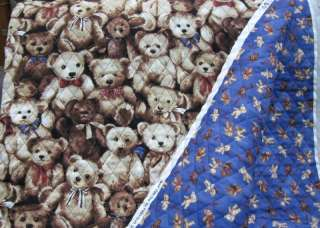 100% cotton fabric, quilted teddy bears