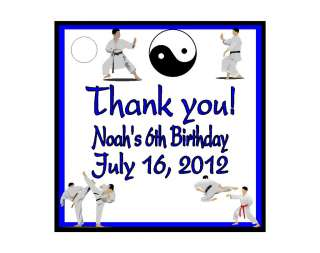 Karate Martial Arts Birthday Favors Gift Tags Square Personalized