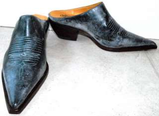 New $249 Lucchese Teal Blue Mules shoes womans 6 Charlie Horse