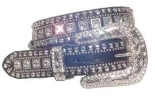 Western Rhinestone Bling Crystal Black Leather Buckle Belt M SM