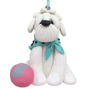 White Puppy Christmas Ornament