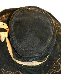 19th century antique Victorian black velvet wide brimmed bonnet hat