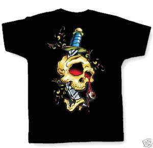 SKULL W/ DAGGER T SHIRT neo traditional tattoo art