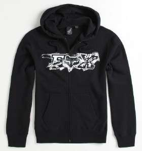 Fox Racing Blackened Black Fleece Zip Hoodie Sweatshirt Jacket New NWT