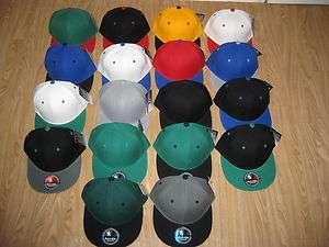 Black White NEW Blank Green Bottom Flat Bill Snapback Hat Cap Vintage