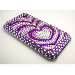 iPhone 3G 3GS Heart Crystal Rhinestone Bling Bling Back Case