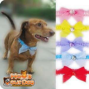 BOW TIE DOG CAT NECKLACE COLLAR PET WEDDING COSTUME S M