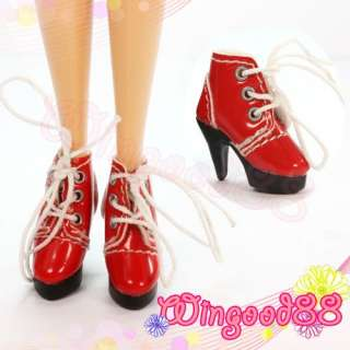 Red Ankle Boots Blythe Pullip Momoko Doll Leather Shoes