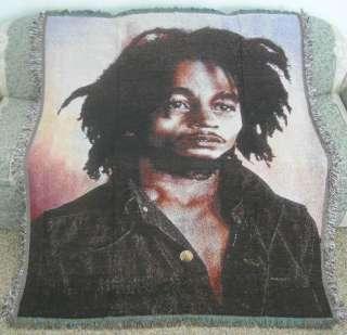 New Bob Marley Heavy Afghan Blanket Portrait Wall Decor