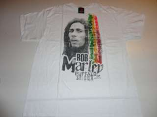 New Bob Marley Buffalo Soldier White Short Sleeve Tee T Shirt X Large