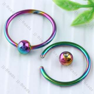 Multicolor Hoop Nose Ring 16G Stud Body Art Piercing Septum