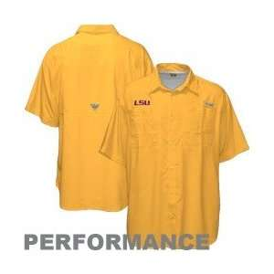 Columbia LSU Tigers Gold Tamiami Performance Fishing Shirt