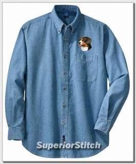 GREATER SWISS MOUNTAIN DOG embroiderd denim shirt XS XL