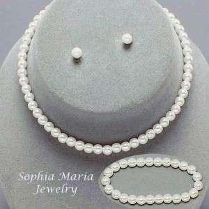 pearl necklace bracelet earring 3 pc set flower girl pageant