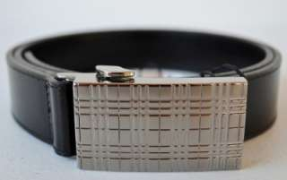 NWT BURBERRY MENS BOYDEN BLACK NOVA CHECK BUCKLE LEATHER BELT~36 90