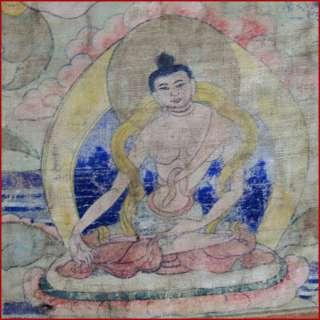 LOVELY ANTIQUE 19THC WHITE TARA 7 BUDDHAS TIBET THANKA