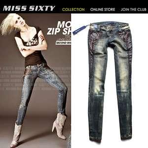 Stunning Leather Pocket Vintage MISS SIXTY Ladys Jeans