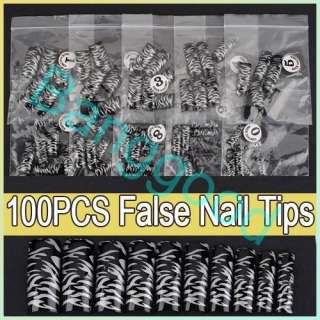100pcs Zebra Stripe Pattern Acrylic UV Gel Black French False Nail Art