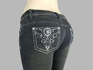 Stretch Slim SKINNY JEANS w/ Rhinestones Studs Back Womens