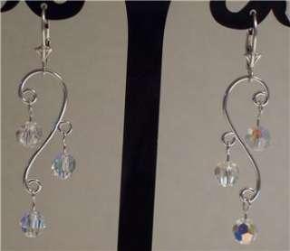 Sterling Silver AB Swarovski Crystal Chanelier Earrings