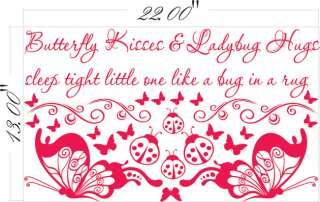 Decal Sticker Art Mural Decor BUTTERFLY KISSES LADYBUG HUGS ~~~
