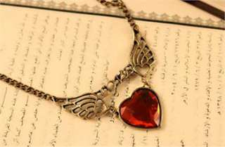 Charm Retro Love Red Heart Stone Angle Wings Necklace x188 great gift