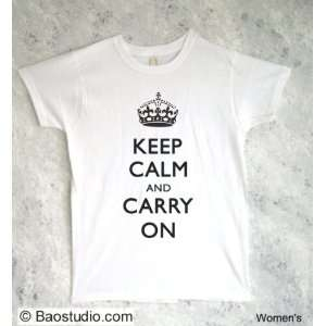 Keep Calm and Carry On (B/W)   Pop Art Graphic T shirt (Womens Large)