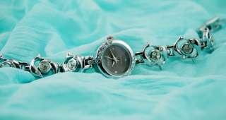 Women Silver Dolphin+Crystal Rhinestone Bracelet Watch