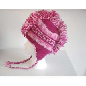 Wool Knit Womens Teen Winter Ski Ear Flap Hat Punk Fleece Lined Pink