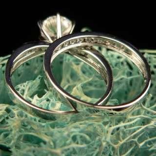 Genuine Solid 14K White Gold 2 Set Engagement Ring 7