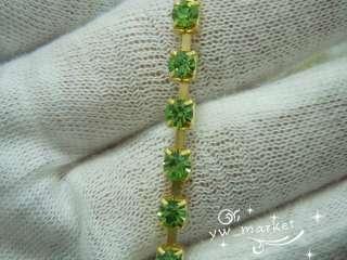 SS12 3mm Light Green Crystal Rhinestone Trims Brass Chain 7.4 Meter