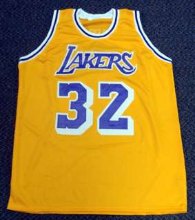 MAGIC JOHNSON AUTOGRAPHED SIGNED YELLOW LA LAKERS JERSEY PSA/DNA