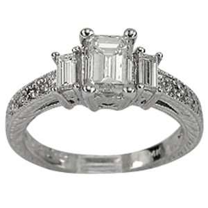 Antique Diamond Engagement With GIA CERTIFIED F VS1 .75ct Emerald Cut