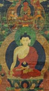 Antique 18 19th C. Chinese Tibetan Thangka Seated Buddha Painting
