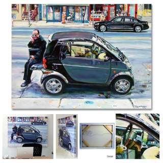Mercedes Benz Smart Car Montreal Painting Original Art