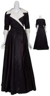 CATHERINE REGEHR Polished Black Silk Gown Dress 16 NEW