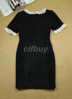 Women Princess Cocktail Evening Party Bowknot Short Sleeve Dress Black
