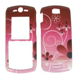 PINK FLOWERS snap on cover faceplate for Motorola SLVR L7c (many other