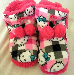 Pink White and Black Hello Kitty Slippers Warm Fluffy Bootie L 9 10