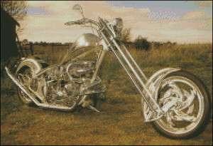 Chrome Chopper Motorcycle Cross Stitch pattern