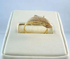 10K YELLOW GOLD LADIES DOLPHIN RING   NICE