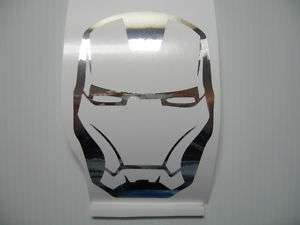 Silver Chrome Iron Man 2 Mask Vinyl Decal